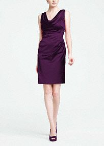Chic and sophisticated, this short style is perfect for any bridal party and boasts plenty of wear-again appeal!  Sleeveless cowl neck bodice is elegant and flattering.  Subtle draping across the midsection hides any flaws.  Stretch satin shapes a comfortable and sleek silhouette.  Lined Bodice. Back zip. Imported polyester. Dry clean only.  Apple, Begonia, Black, Malibu and Plum are available in stores and online.