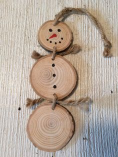 Wood Slice Snowman Ornament wood slice hand by MaxinesMercantile