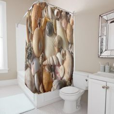 Seashells beach shower curtain - diy cyo customize create your own personalize