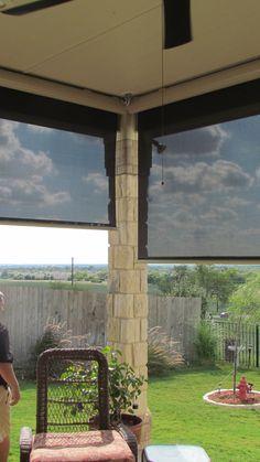 Outdoor patio roller shades