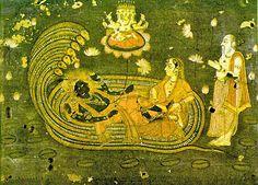 Adi Sesha with Vishnu and Mahalakshmi