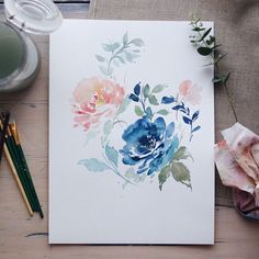 149 mentions J'aime, 6 commentaires - @createthecut sur Instagram : « Am really liking this blue, peach and mint colour combination. #handpainted #paint #art #flowers… »