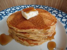 Whole Wheat Peanut Butter Pancakes  2 cups whole wheat flour (I use freshly ground)  1 teaspoon baking powder  1/2 teaspoon sea salt  5 Tablespoons butter  1/2 cup natural peanut butter (I use homemade creamy peanut butter)  2 cups milk  2 eggs    *I added more milk, made waffles and these came out fluffy. next time I'll add more peanut butter tho!