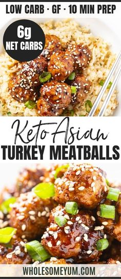 meatball recipes Keto Baked Asian Turkey Meatballs Recipe - Learn how to make healthy, keto Asian turkey meatballs that are full of flavor, with prep! This baked ground turkey meatball recipe has simple ingredients and just 6 grams net carbs. Healthy Turkey Recipes, Low Carb Recipes, Real Food Recipes, Diet Recipes, Simple Healthy Recipes, Ground Turkey Meatballs, Baked Turkey Meatballs, Albondigas, Meatball Recipes