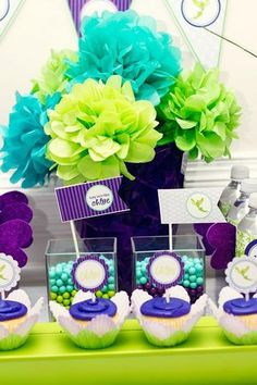 Turquoise & Lime & Purple...Love it! I am adding lime green in with my flowers and maybe the boys outfits!