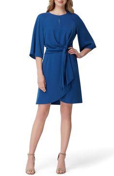 Blue Tie Front Stretch Crepe Dress for Fall #affiliatelink #bluedress #weddingguest #fallfashion #fallwedding Women's Fashion Dresses, Casual Dresses, Dresses For Work, Women's Dresses, Blue Dresses, Inexpensive Dresses, Tie Front Dress, Crepe Dress, Collar Dress