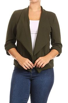 250b55abf191c Womens Plus Size Casual Work Natural Style Blazer Cardigan MADE IN USA  XXXLarge Olive  gt