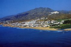 Mojacar Playa with the Pueblo up the mountain int he background