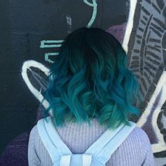 Blue Green ombre on short hair