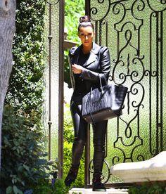 Kim Kardashian with Celine Phantom in Black Croc