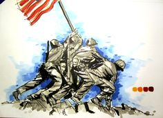Military Series:  Battle of Iwo Jima Time Lapse Drawing