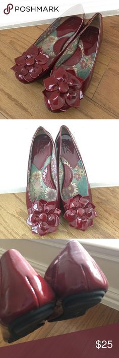 Born Red Patent Leather Flats with Flower Size 9 Born Concept (b.o.c.). Worn once. In excellent condition. Cushioned footbed. No odors or tears. From a smoke free and pet free home. Not interested in trading. Born Shoes Flats & Loafers