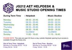 AET HELPDESK OPENING HOURS