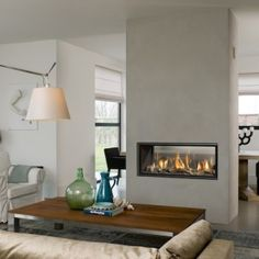 3 Warm Tips: Fireplace Makeover Mantle old fireplace marble.Fireplace Screen Wood Mantle fireplace built ins with hearth.Fireplace With Tv Above Apartment. Two Sided Fireplace, Double Sided Gas Fireplace, Home, Fireplace Tile Surround, Indoor Fireplace, Living Room With Fireplace, Interior, Contemporary Fireplace, House Interior