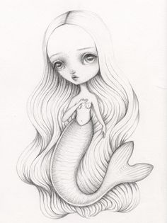 Mermaid drawing by Lauren Saxton (Fair Rosamund Art).