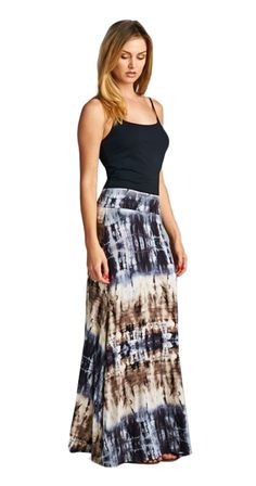 www.silvericing.com/meghan Damn girl, check you out! This ultra flattering maxi skirt highlights that amazing figure you didn't know you had. And you can wear this piece as a dress as well, talk about versatile. The lightweight fabric and muffin top free waistband adds up to a fantastically comfortable skirt/dress you won't want to take off.      Maxi skirt that converts into a strapless dress     Mix stripe tie dye     Banded Waist folds up or down     Signature 'Muffin Top Free' Waistband