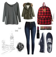 """""""Cozy London day"""" by sgrsnowyowl ❤ liked on Polyvore featuring Vans, Forever 21, WithChic, Marc by Marc Jacobs and Smashbox"""