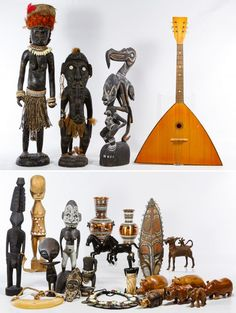 Lot 194: Ethnographic Object Assortment; Twenty-five items including carved wood statues from Papua, New Guinea, a stringed guitar style instrument, carved wood animals, metal horse figures, shell necklaces and hand painted Greek souvenir vases