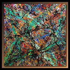 Abstraction P340 - Peinture,  80x80 cm ©2010 par TEHOS -                            Expressionnisme, tableau tehos art moderne design contemporain expressionisme abstrait cubisme huile acrylique toile artiste peintre