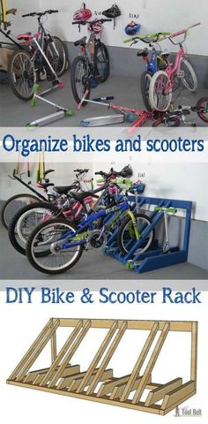 DIY Bike and Scooter Rack - Her Tool Belt - Home - Garage Solutions, Storage & Organization - The perfect way to organize those bikes and scooters all over the garage. Free and easy plans to bu - Easy Woodworking Projects, Diy Projects, Project Ideas, Woodworking Plans, Unique Woodworking, Intarsia Woodworking, Woodworking Skills, Rack Velo, Scooter Storage