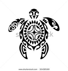 Sacred geometry - turtle - use to design and tattoo. Maori style. On black background. - stock vector