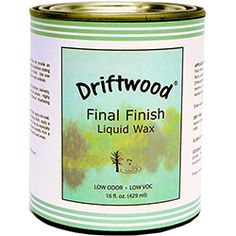 16 oz. Pint Size. Use Driftwood Final Finish Liquid Wax to preserve the look of Driftwood Weathering Wood Finish while creating a hard water resistant satin finish.Product contains no solvents or VOCs.