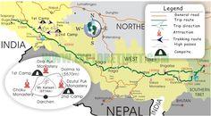Main routes to Kailash. From www.tibetexplorertour.com.