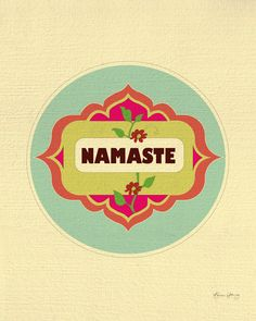 This Namaste wall art available in an array of finishes, materials, and sizes, this retro inspired art print will feel close to your heart with its bright color palette and unique design. Each print m