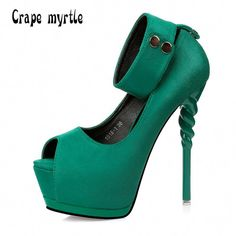 MS 2017 Spring Summer Women Pumps Sexy peep toe platform wedge ultra high  heels Fashion Ankle 65b01ab59841