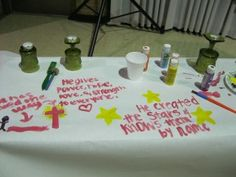 Prayer Stations. Love the Lord's Prayer idea for small group confirmation.