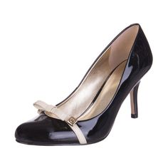 8da0d44f40bd GUESS Leather Court High Kitten Heels Shoes Size 37 UK 4 Patent Bow  Detailing  fashion