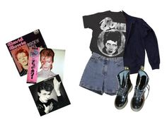 """""""Bowie"""" by ihatepe0ple ❤ liked on Polyvore featuring Ann Taylor, Fred Perry, Dr. Martens, bowie and davidbowie"""