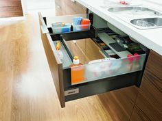 Waste no space in awkwardly shaped sink cupboards with these carefully crafted sink drawers from Blum My Dream Kitchen : Products : Hardware/Storage Gallery Door Storage, Smart Storage, Storage Hacks, Storage Ideas, Kitchen Items, Kitchen Storage, Kitchen Decor, Kitchen Design, Kitchen Products
