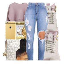 A fashion look from October 2016 featuring knit shirt, high waisted distressed jeans and pocket bag. Browse and shop related looks. Lit Outfits, Cute Swag Outfits, Jordan Outfits, Dope Outfits, Fall Outfits, Casual Outfits, Summer Outfits, School Outfits, Girly Outfits