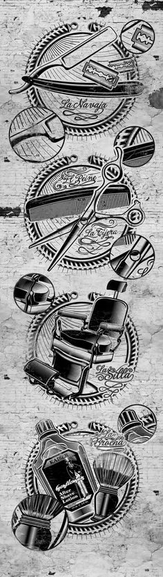 This series of illustrations inspired in the vintage imagery of the barber shops of the in the United States was a proposal made between Grup D´art & Barber Shop, located in El Arenal / Palma de Mallorca, for the recognized brand of men hair care prod… Barber Logo, Barber Tattoo, Barbershop Design, Barbershop Ideas, Barber Shop Decor, Barber Shop Vintage, Design Salon, American Crew, Barber Chair