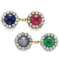 Antique diamond & gem set cufflinks 1890...♡