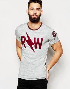 Image 1 ofG-Star T-Shirt Kritnu Raw Logo Contrast Neck Marl