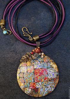 Купить украшение кулон из полимерной глины мозаика 6. Кулон яркий. - кулон, таня майорова