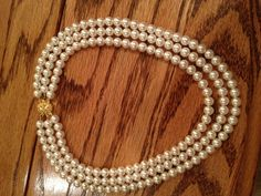 Triple Strand Pearl Necklace - Elegant  Swarovski Pearls -Perfect for Bride, Bridesmaid, Mother of the Bride, Prom or Formal