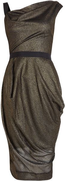 Vivienne Westwood Red Label Black Metallic Chainmail Drape Dress