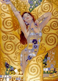 """""""The soul that is united & transformed in God breathes God in God with the same divine breathing with which God, while in her, breathes in himself. John of the Cross ♥ Beautiful Art by Irina Karkabi - Goddess Energy Gustav Klimt, Klimt Art, Art And Illustration, Figure Painting, Painting & Drawing, Painting Tools, Painting Canvas, Texture Painting, Spray Painting"""