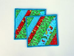 Cotton Quilted Potholders snackmats Crazy by MonkeyMuffin on Etsy