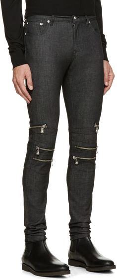 Versus Indigo Skinny Zipper Jeans