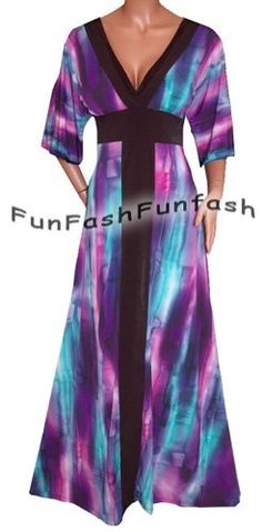FUNFASH SLIMMING PURPLE KIMONO LONG MAXI COCKTAIL DRESS Plus Size 2X 22 24 Made in USA Funfash, www.amazon.com/...