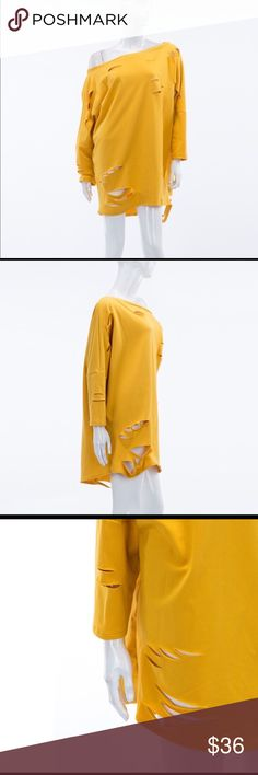 ⚜️JUST IN⚜️Stylish Destroyed Casual T-Shirt Dress ⚜️Stylish destroyed t-shirt dress⚜️Can be worn with tights or skinny jeans or as a dress with thigh high boots. Very roomy and great quality. Beautiful mustard color ***French terry/87% polyester, 10% rayon and 3% rayon Made in the USA 🇺🇸 I have comfortably fit the large and I am a curvy size 14-16. The Blossom Apparel Dresses
