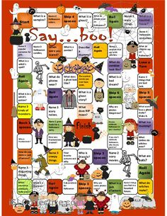 Halloween Board Game worksheet - Free ESL printable worksheets made by teachers - repinned by @PediaStaff – Please Visit ht.ly/63sNt for all our ped therapy, school psych, school nursing & special ed pin