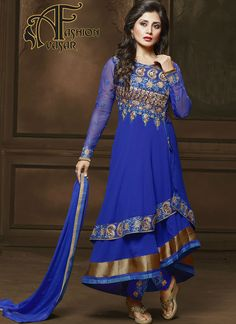 Blue Anarkali Salwar Kameez.Make the heads flip when you dress up in this sort of a charming Blue Georgette Unstitched Salwar Kameez. The lovely Patch Work