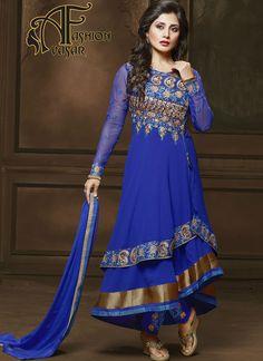 Blue Anarkali Salwar Kameez.Make the heads flip when you dress up in this sort of a charming Blue Georgette Unstitched Salwar Kameez. The lovely Patch Work
