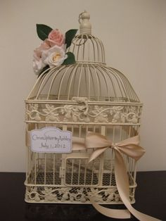 Ivory Wedding Card Box / Vintage Style / Romantic / Shabby Chic / Pink / Bird Cage Wedding Card Holder. $65.00, via Etsy.