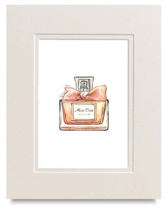 Miss Dior Perfume Bottle Watercolor by LadyGatsbyLuxePaper on Etsy